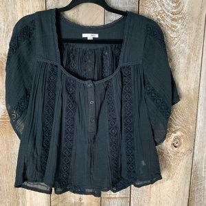 Amuse Society Top Sz S Crochet Black